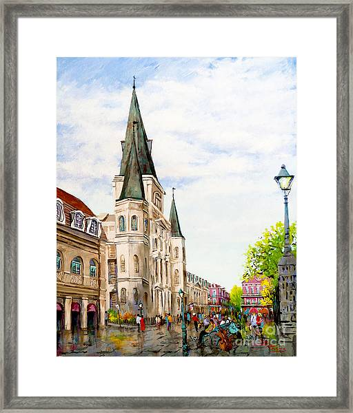 Cathedral Plaza - Jackson Square, French Quarter Framed Print