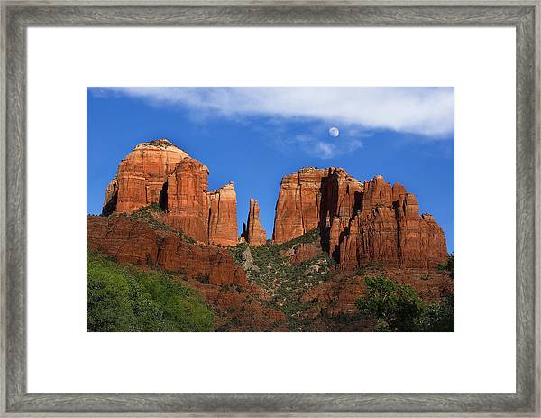 Cathedral Rock Moon Rise Color Framed Print
