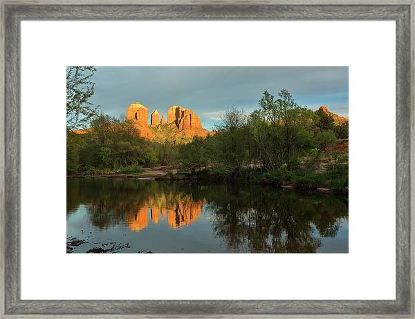 Cathedral Rock Oak Creek Sunset Framed Print