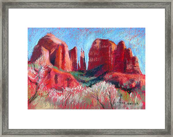 Cathedral Rock On Red Paper Framed Print