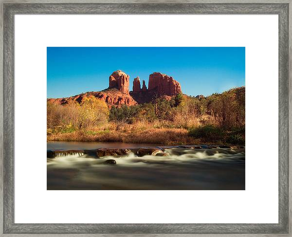 Cathedral Rock With Flowing Water Framed Print