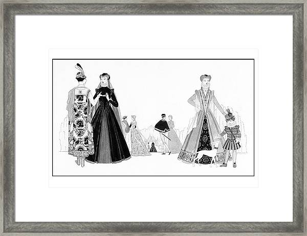 Catherine De'medici And Family Framed Print