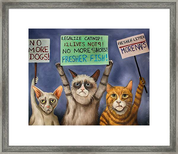 Cats On Strike Edit 3 Framed Print