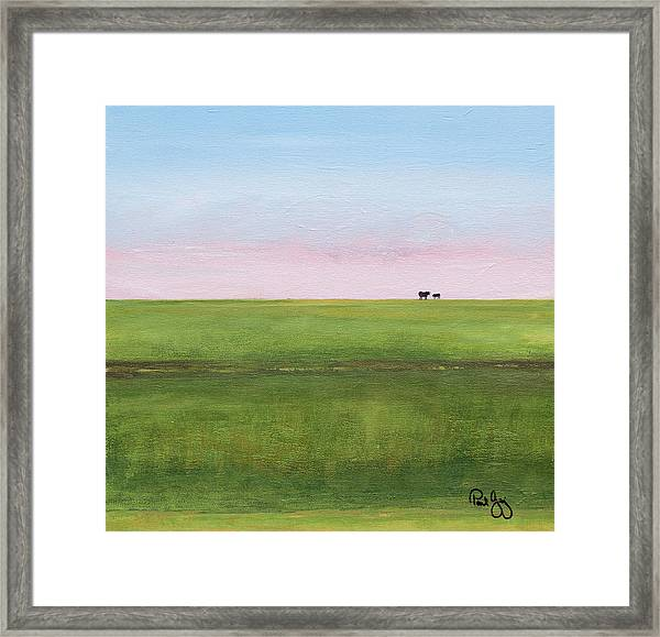 Cattle On The Levee Framed Print