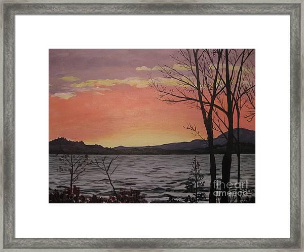 Caucomgomoc Lake Sunset In Maine Framed Print