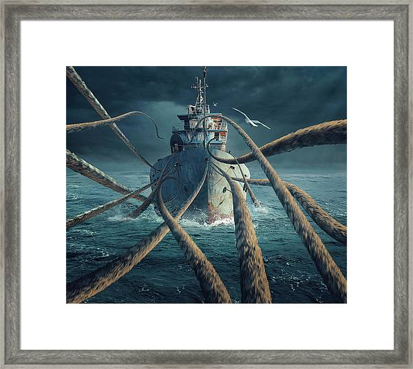Caught The Ship Framed Print
