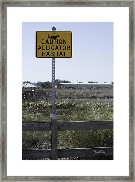 Caution Alligator Habitat Framed Print
