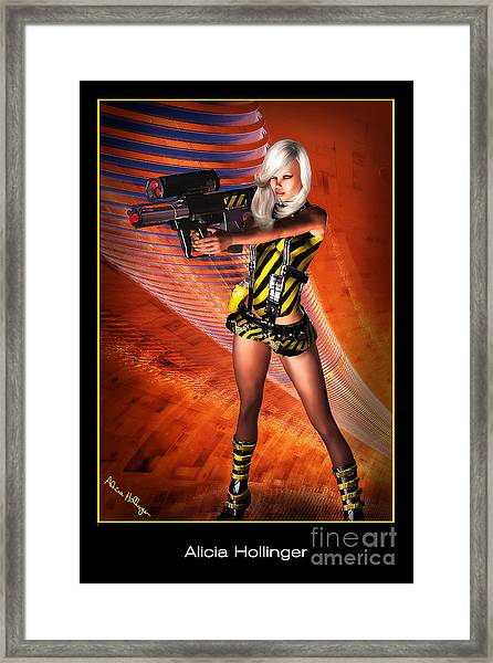 Caution Sci-fi Blonde With A Gun Framed Print