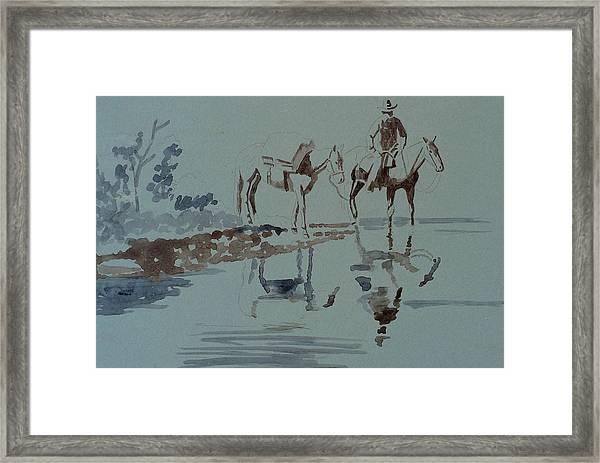 Cautious Creek Crossing Framed Print