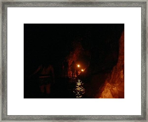 Caving With Candles And Cutoffs Framed Print