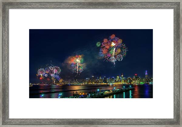 Celebration Of Independence Day In Nyc Framed Print