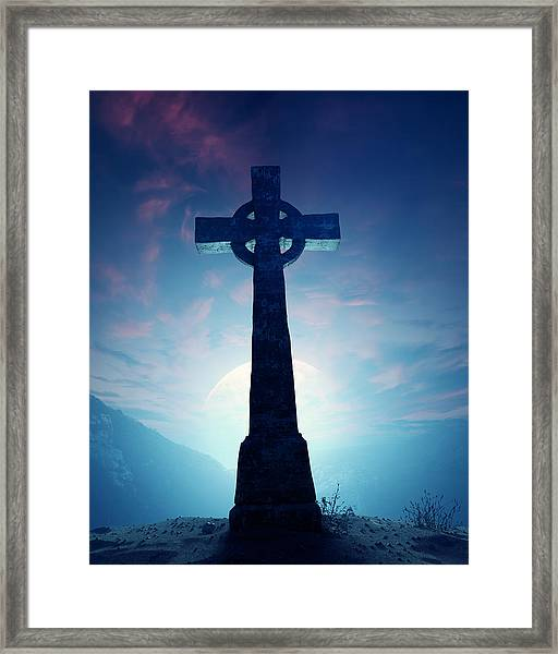 Celtic Cross With Moon Framed Print
