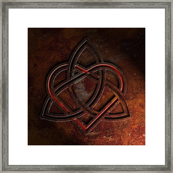 Celtic Knotwork Valentine Heart Rust Texture 1 Framed Print