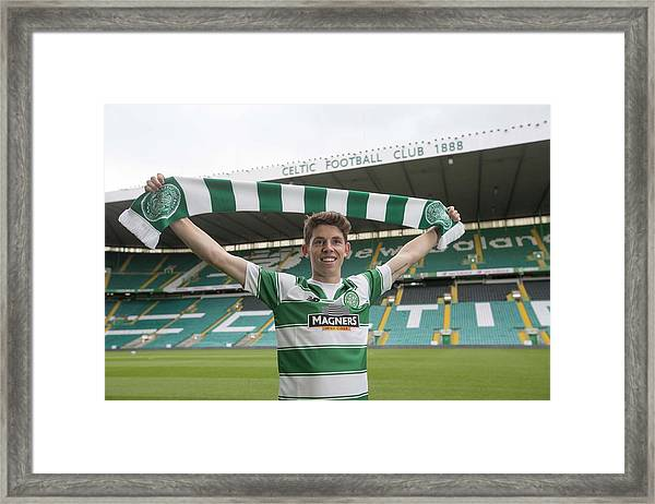Celtic Unveil New 4-year Signing Ryan Christie Framed Print by Jeff Holmes
