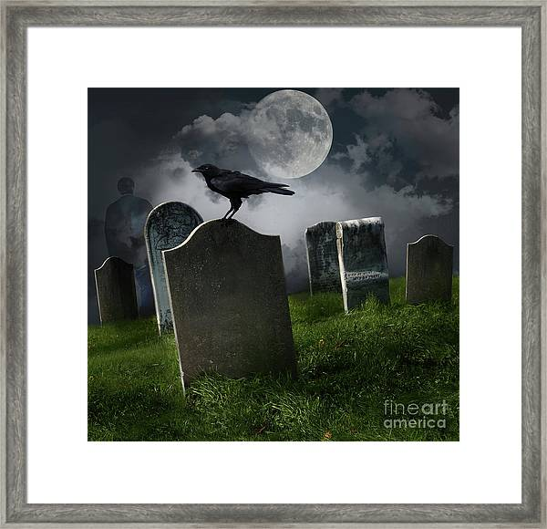 Cemetery With Old Gravestones And Moon Framed Print