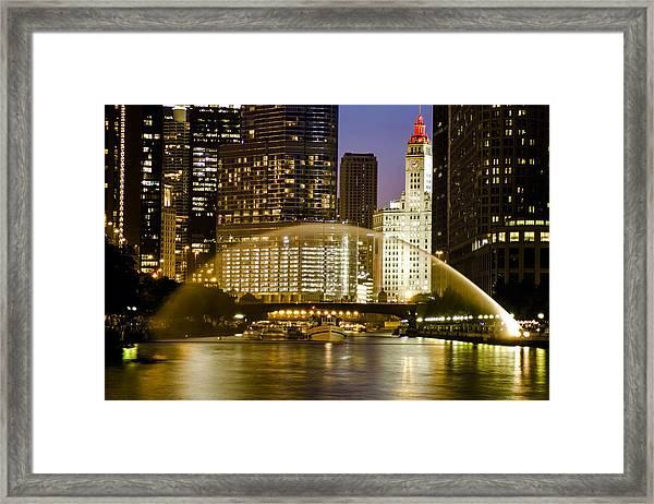 Centennial Fountain Over Chicago River At Dusk Framed Print