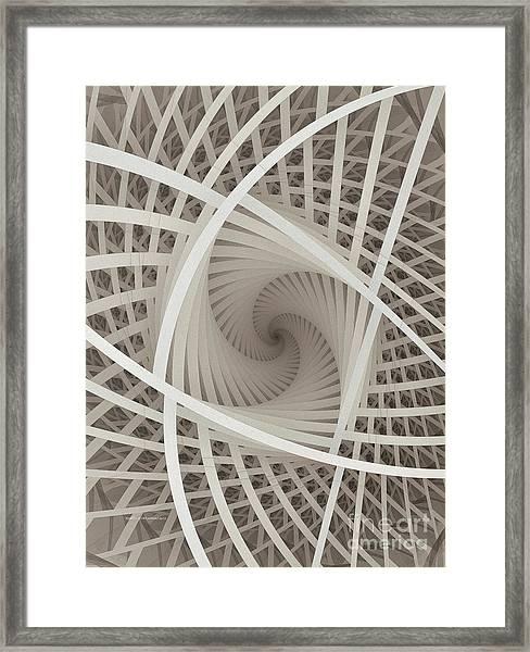 Centered White Spiral-fractal Art Framed Print
