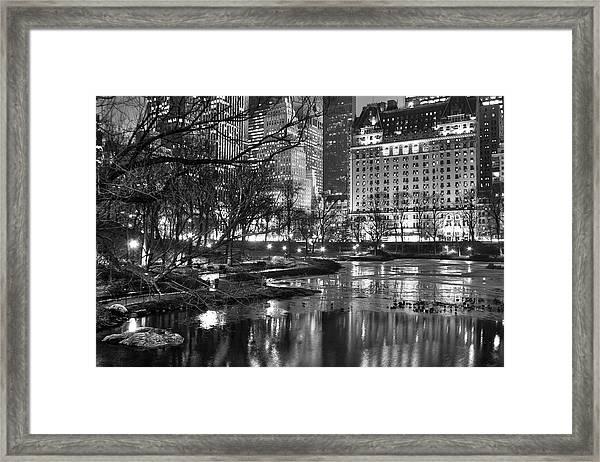 Central Park Lake Night Framed Print