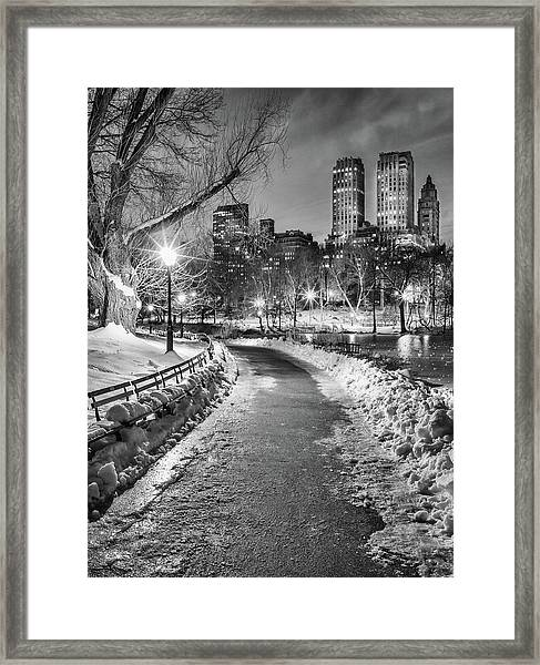 Central Park Path Night Black & White Framed Print by Michael Lee