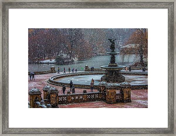 Central Park Snow Storm Framed Print
