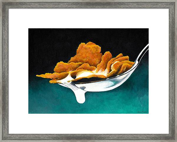 Cereal In Spoon With Milk Framed Print