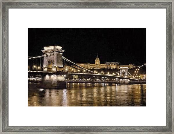 Chain Bridge And Buda Castle Winter Night Painterly Framed Print
