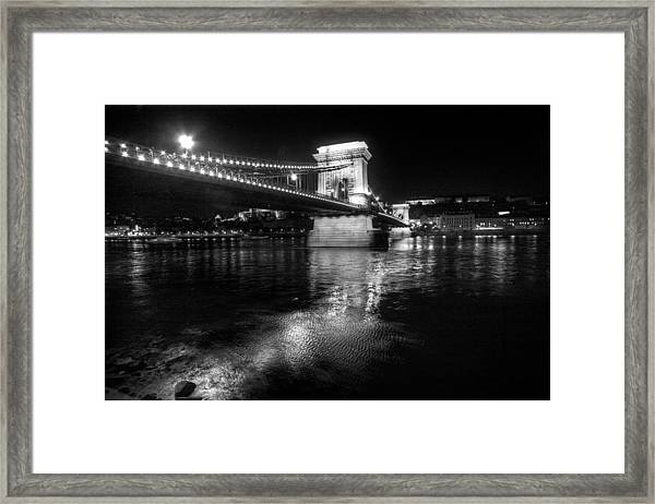 Chain Bridge Danube River Framed Print