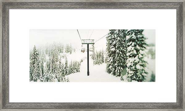 Chair Lift And Snowy Evergreen Trees Framed Print