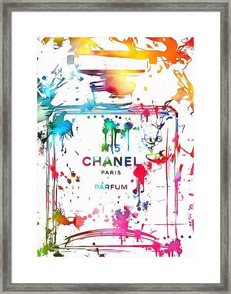 Chanel Number Five Paint Splatter Framed Print