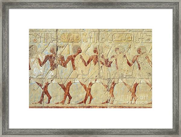 Chapel Of Hathor Hatshepsut Nubian Procession Soldiers - Digital Image -fine Art Print-ancient Egypt Framed Print