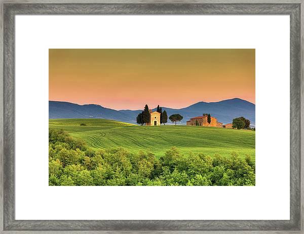 Chapel Of Vitaleta In Tuscany, Val Framed Print by Zodebala