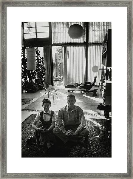 Charles Eames And Ray Eames Framed Print by John Bryson