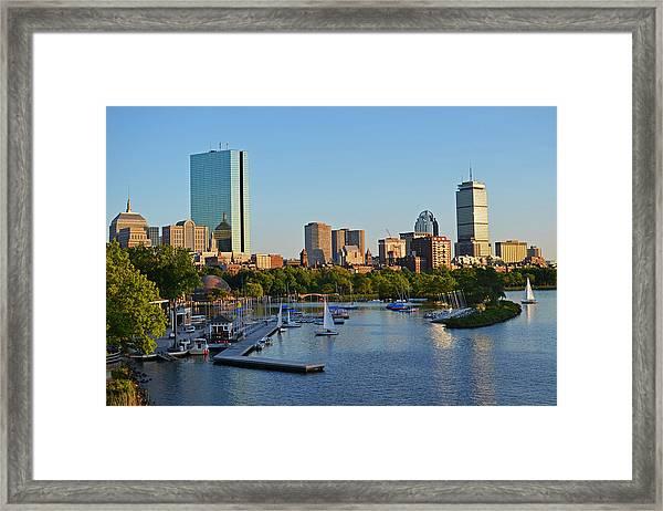 Charles River At Sunset Framed Print