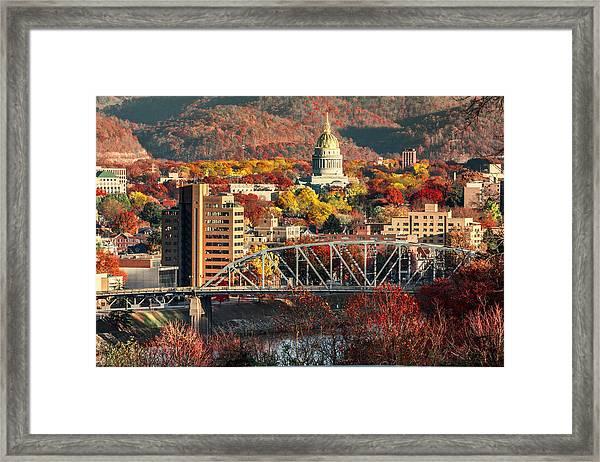 Charleston And Wv Capitol Framed Print