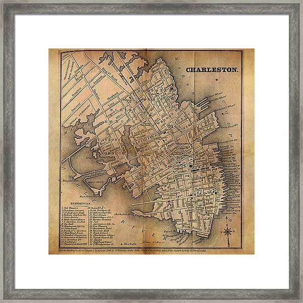 Charleston Vintage Map No. I Framed Print