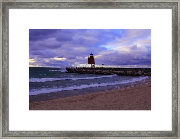 Charlevoix Lighthouse Sunset 1 Framed Print