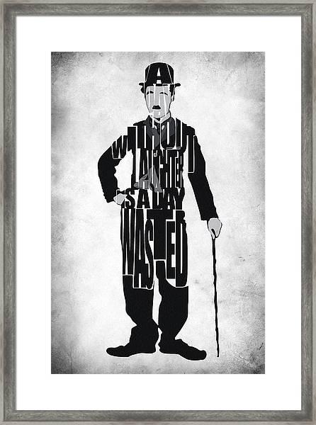Charlie Chaplin Typography Poster Framed Print