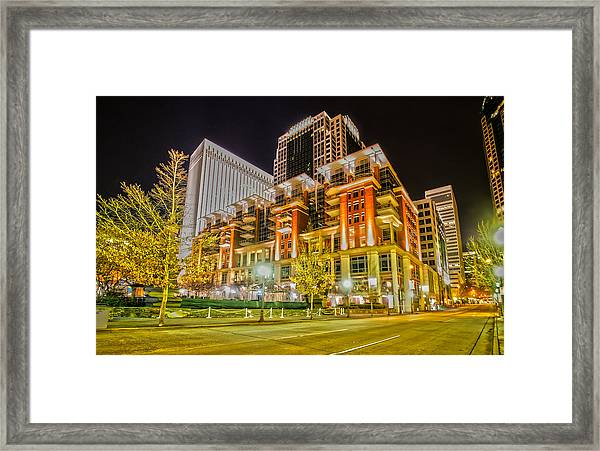 Charlotte City Skyline Night Scene Framed Print