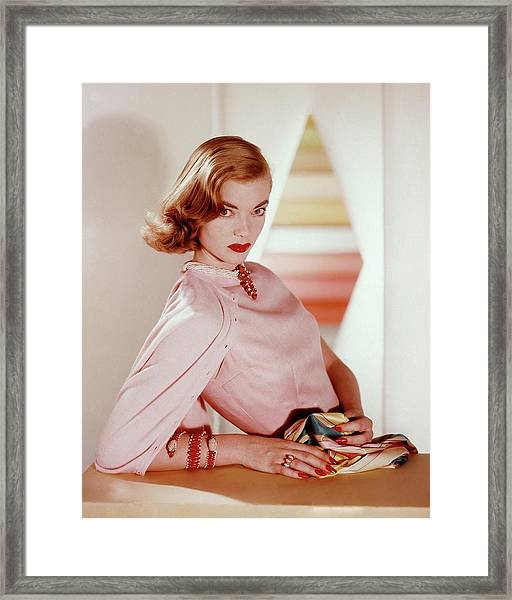 Charlotte Payne Wearing Cartier Jewelry Framed Print by Horst P Horst