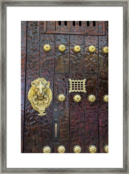 Charming Entry Door, Cartagena, Colombia Framed Print by Jerry Ginsberg