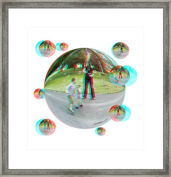 Chasing Bubbles - Red/cyan Filtered 3d Glasses Required Framed Print