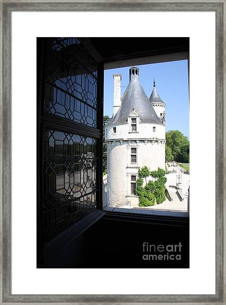Chateau Chenonceau Tower Through Open Window  Framed Print by Christiane Schulze Art And Photography