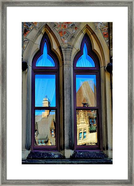 Chateau Laurier - Parlaiment Window - Reflection # 1 Framed Print