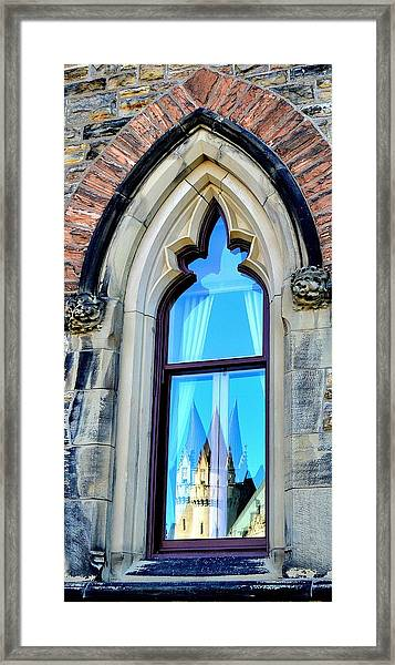 Chateau Laurier - Parlaiment Window - Reflection # 3 Framed Print