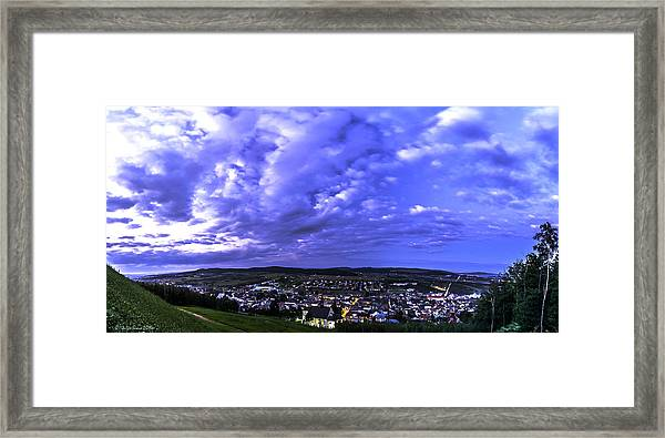 Checiny Town Blue Hour Panorama Framed Print