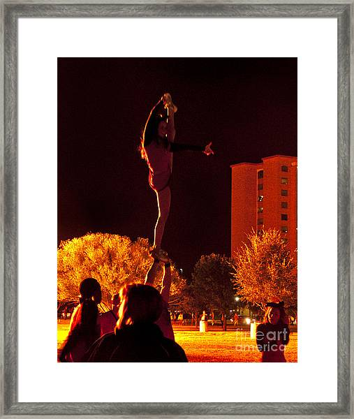 Cheer Leaders At Texas Tech Home Coming Framed Print by Mae Wertz