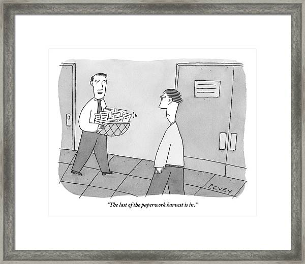 Cheerful Office Worker Holding A Basket Of Papers Framed Print