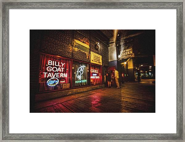 Cheezborger Cheezborger At Billy Goat Tavern Framed Print