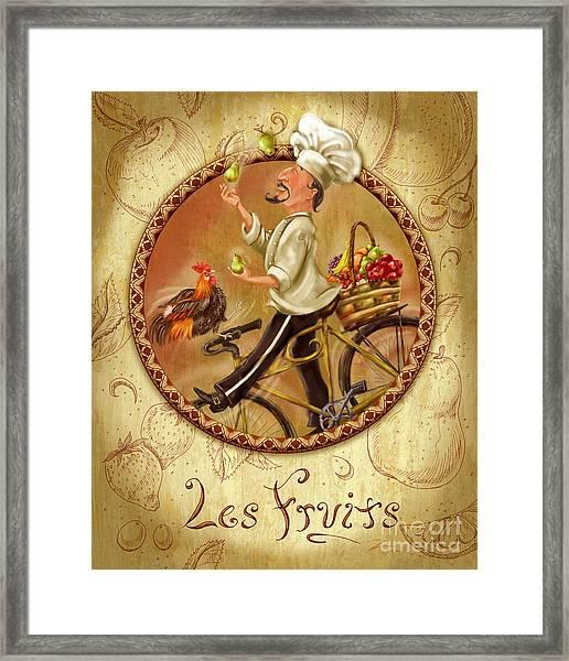 Chefs On Bikes-les Fruits Framed Print