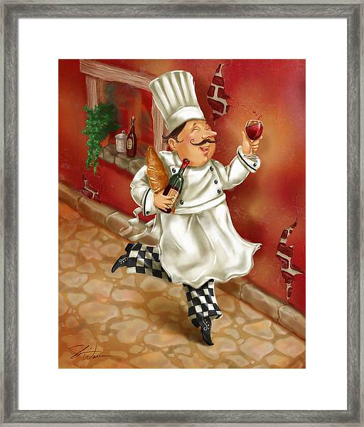 Chefs With Wine I Framed Print